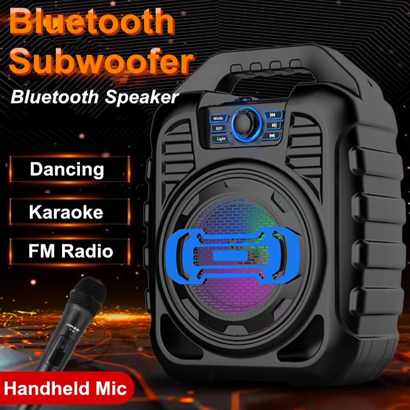 Bakeey Wireless Bluetooth Speaker Kalaoke Colorful Light Stereo TF Card FM Radio Portable Speaker 7