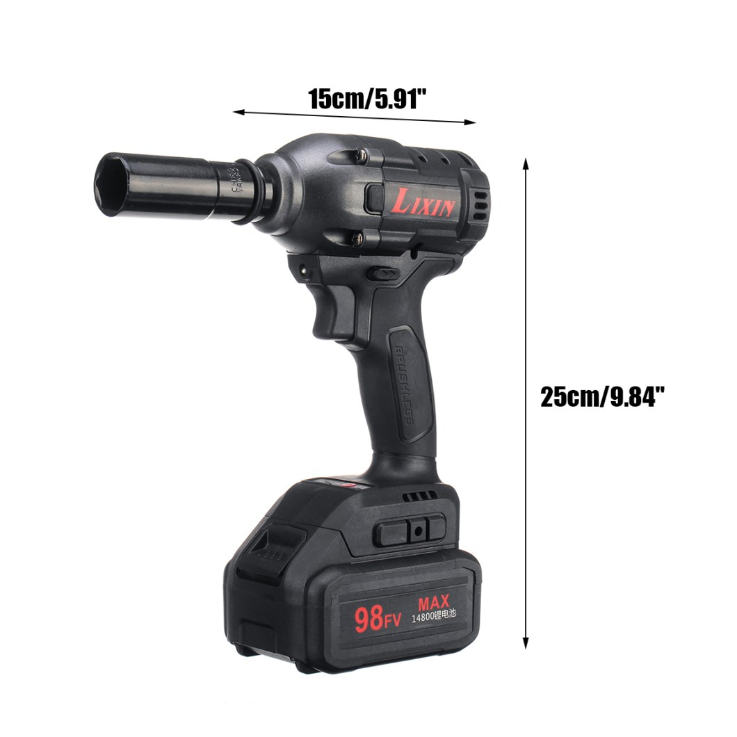 98FV 14800mAh Cordless Brushless Electric Wrench Drill LED Light W/ 1 or 2 Li-on Battery 42