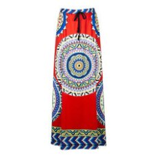 Ethnic Style Bohemian Women High Waist Geometric Printed Maxi Skirt