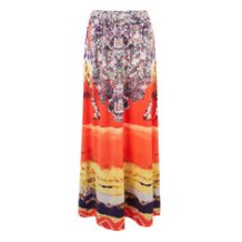 Bohemian Printed Stretch Waist Beach Maxi Skirt For Women
