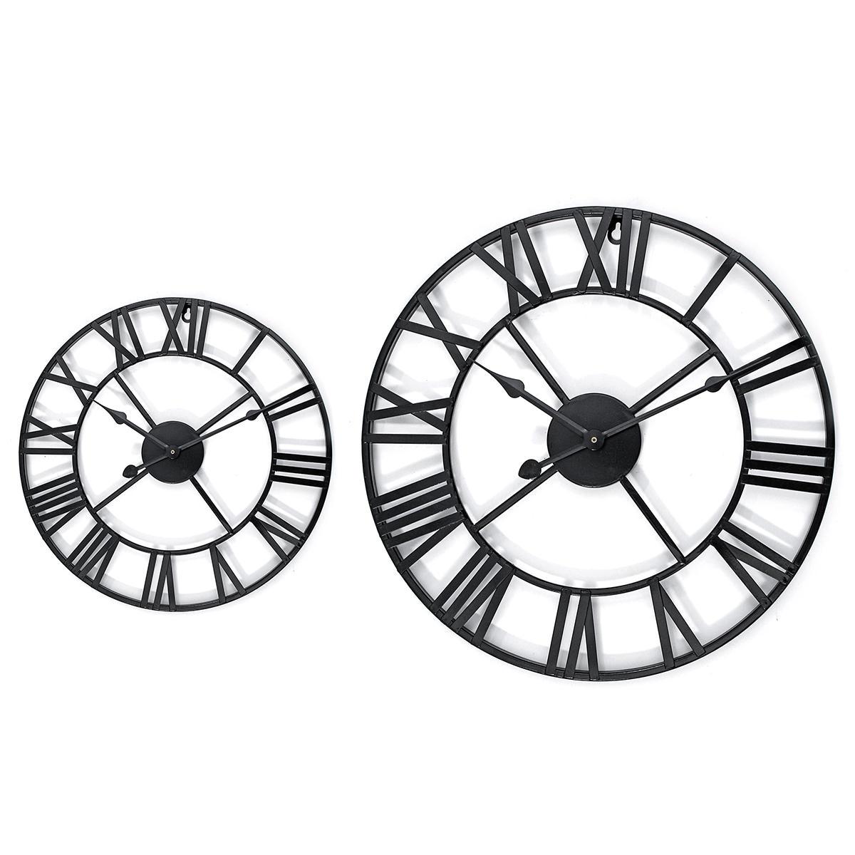 40 60cm Large Metal Skeleton Roman Numeral Wall Clock