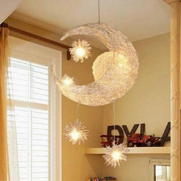 Lune Et Toiles Douce Enfant Chambre Lampe Suspension