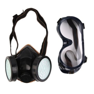 Protection Filter Dual Gas Mask Chemical Gas Anti Dust Paint Respirator Face Mask with Goggles