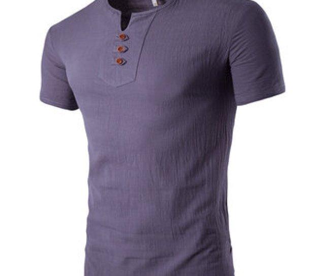 Summer Mens Casual V Neck Button Cotton Linen T Shirt Short Sleeved Tops Tees