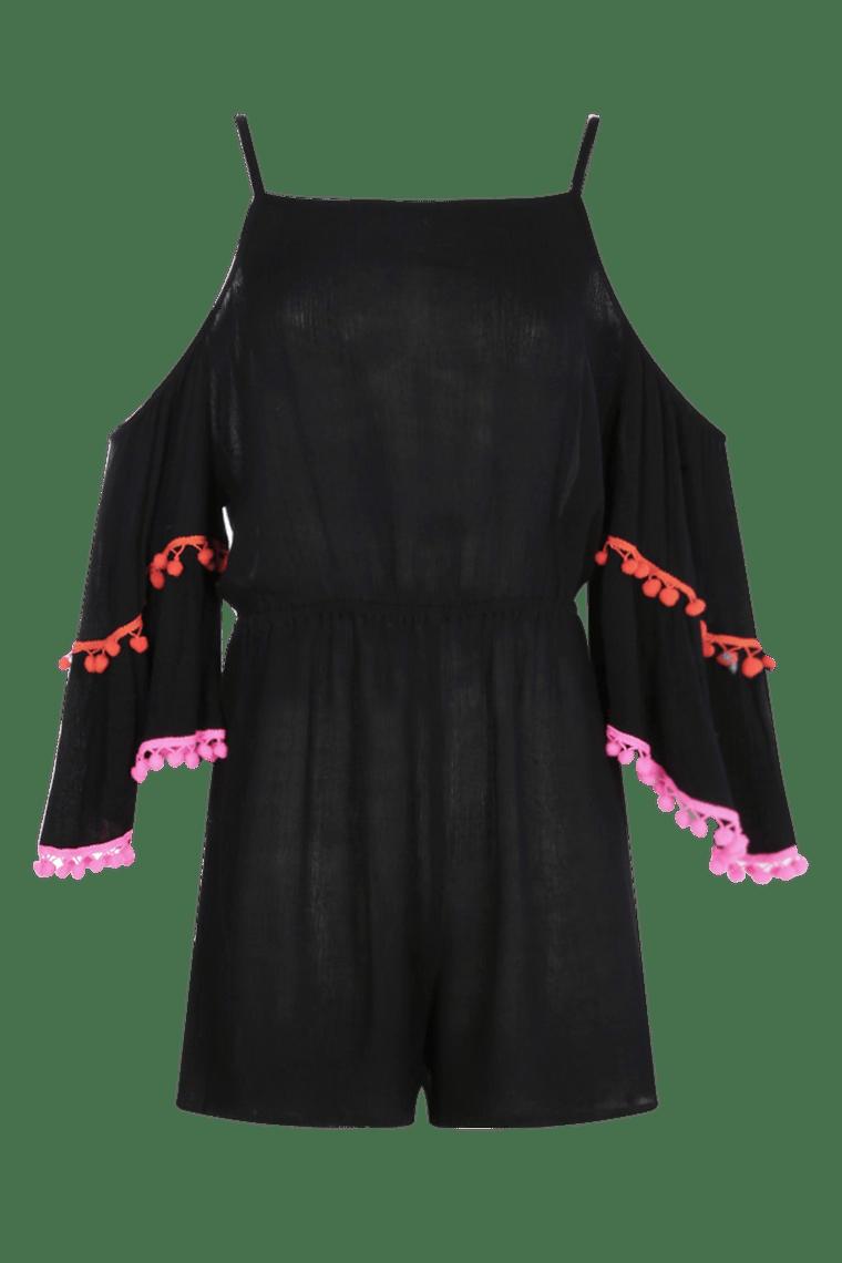 Pom Pom Shoulder Playsuit