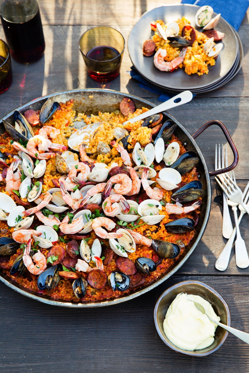Grilled Seafood and Chorizo Paella with Saison