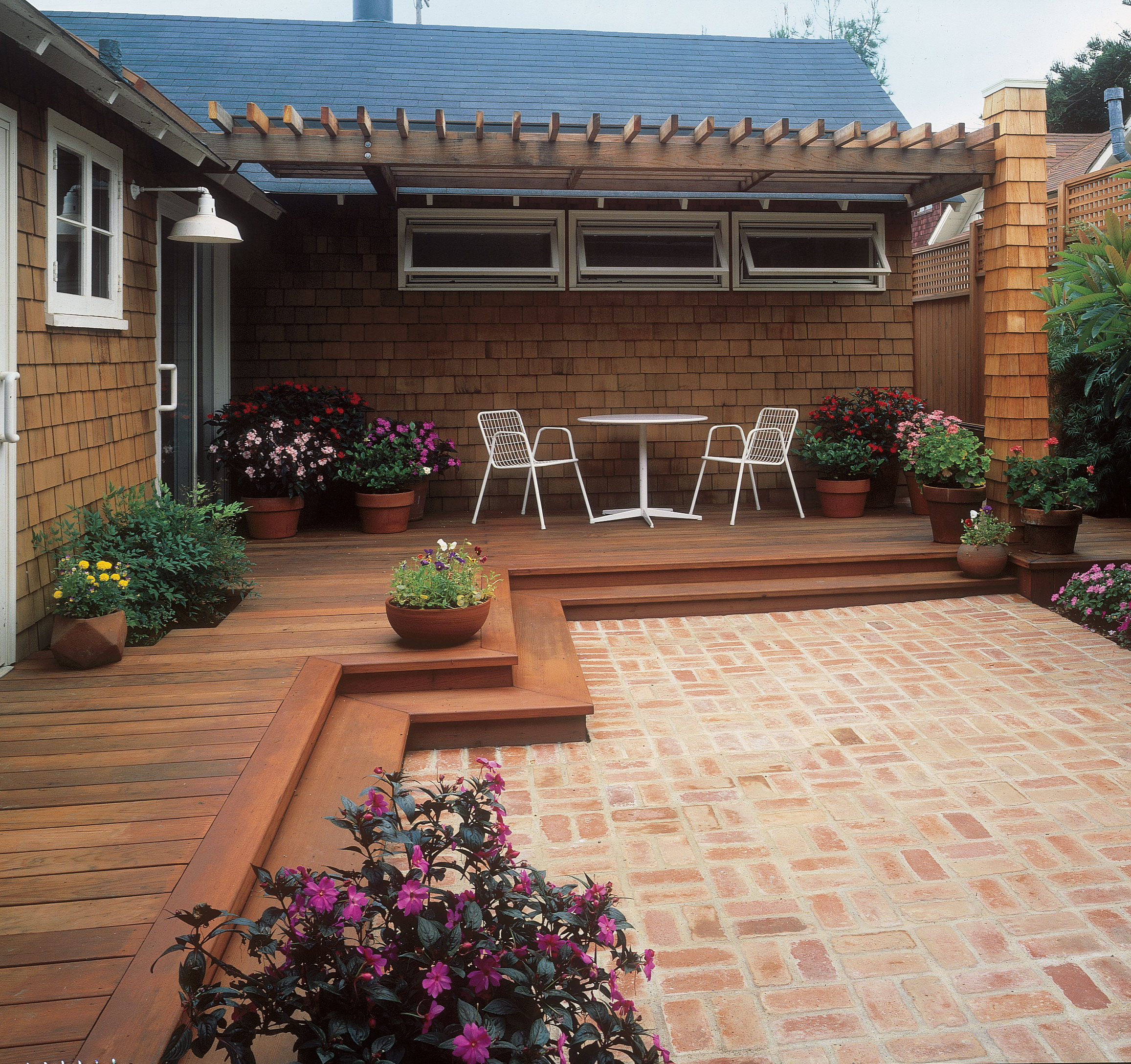 Free building plan for a transitional backyard deck ... on Patio With Deck Ideas id=24428