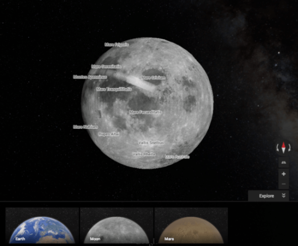 You can now explore the Moon and Mars with Google Maps