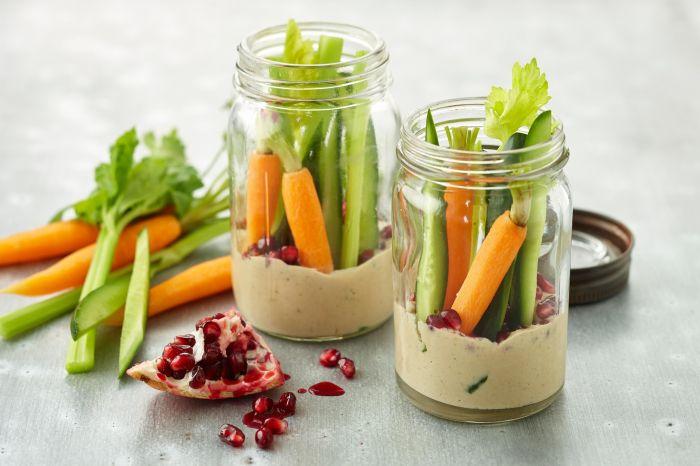 Resultado de imagem para vegetables and humus jar