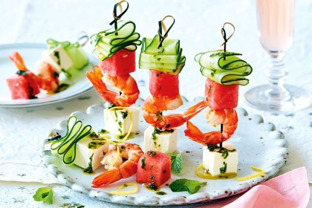 Prawn, watermelon and fetta skewers with mint oil