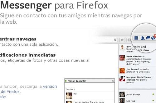 Nueva integración de Firefox con Facebook