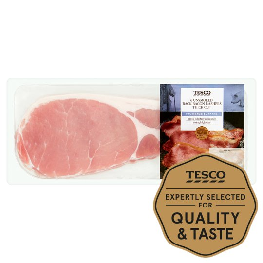 tesco unsmoked thick cut back bacon 7 300g pro