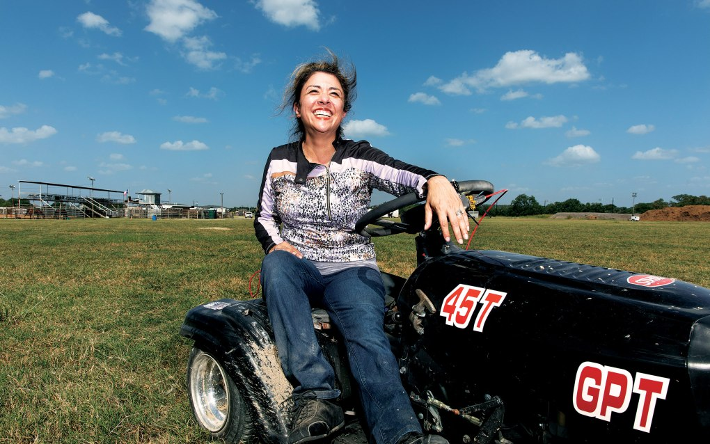 Julie Tynmann at the Lone Star Mower Racing Association lawn mower races at the Kendall County Fairgrounds in Boerne, on September 4, 2021.