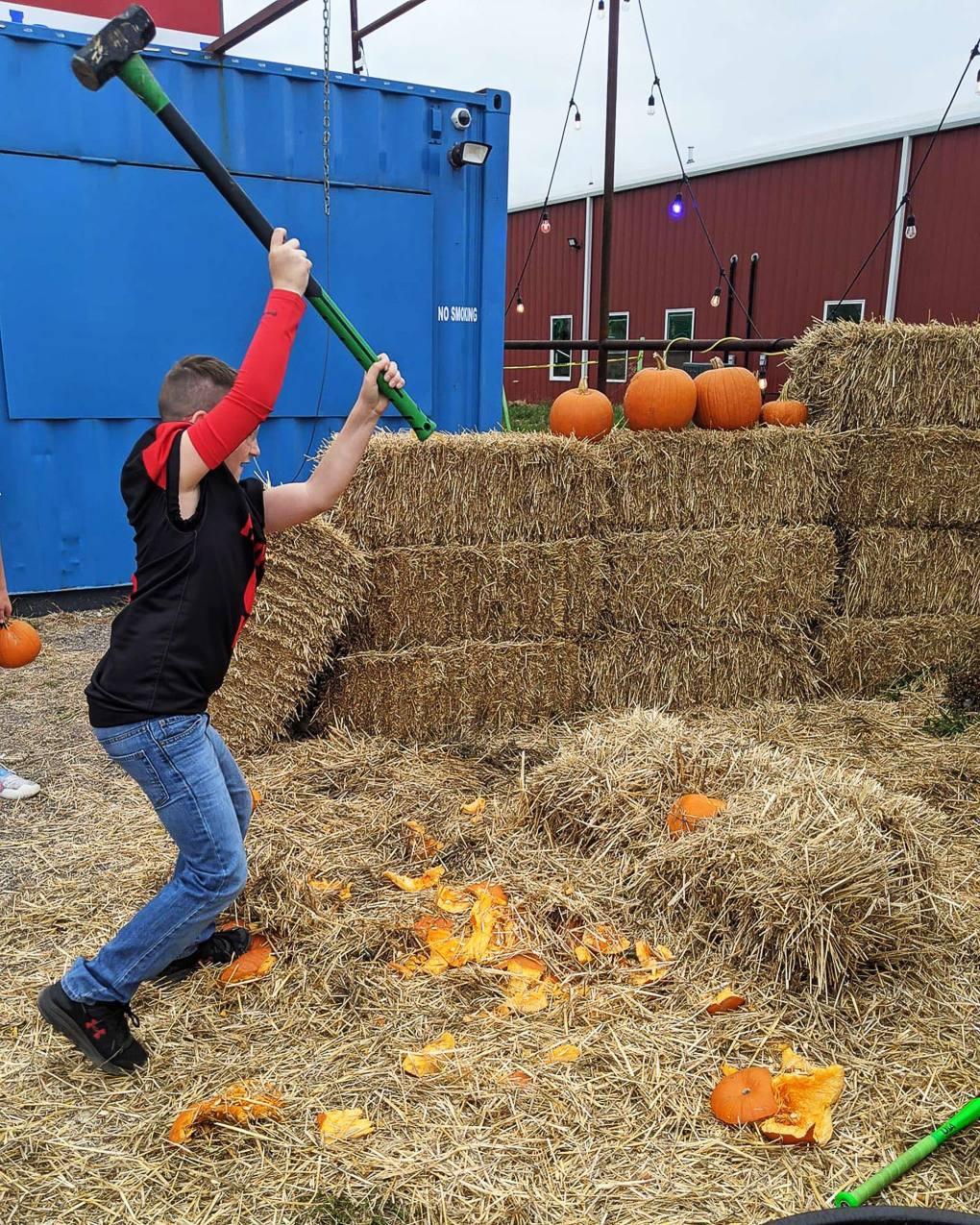 Pumpkin smashing at Pitchfork Pumpkin Patch