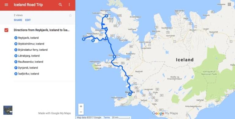 Iceland West Fjords Road trip| © Nikki Vargas/Google Maps