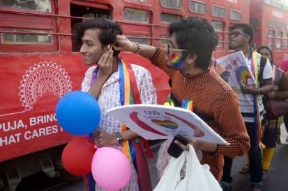 India's LGBT community and social activists participated in Kolkata Rainbow Pride, Kolkata, India
