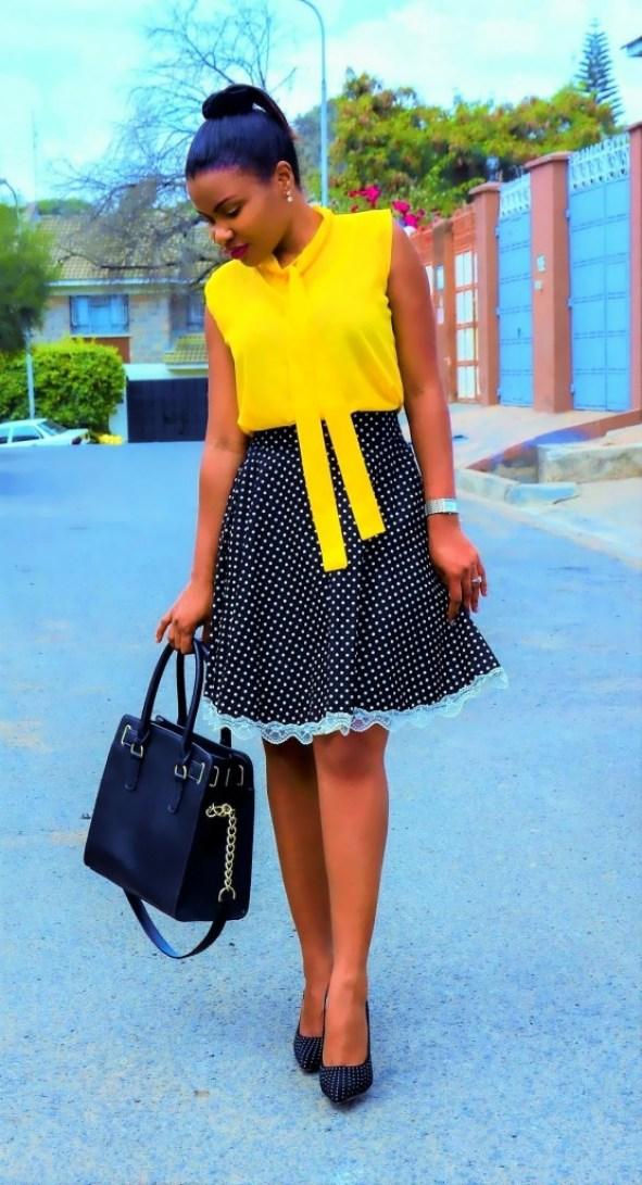 polka-dot diy skirt outfit