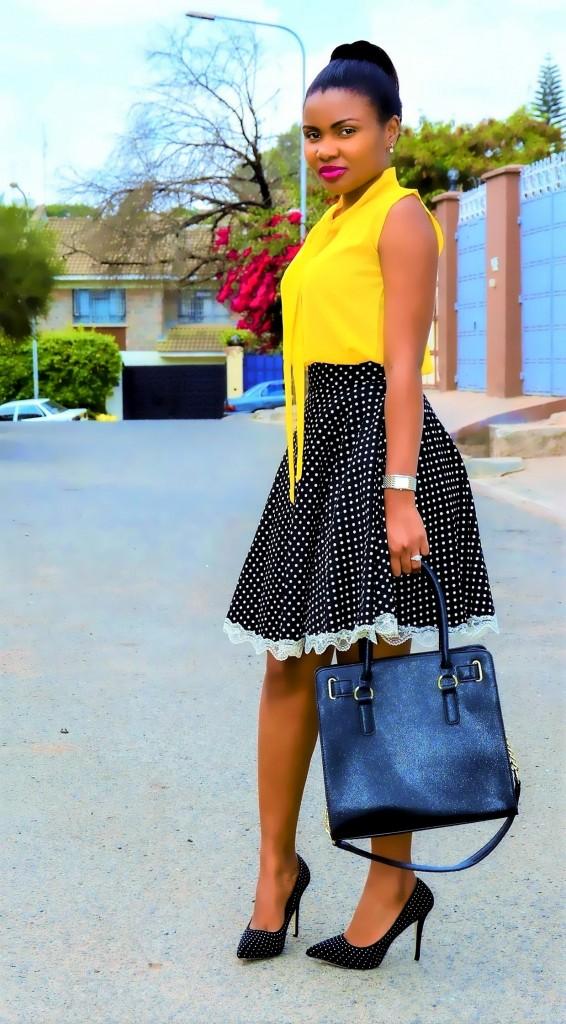 polka-dot diy skirt outfit (2)