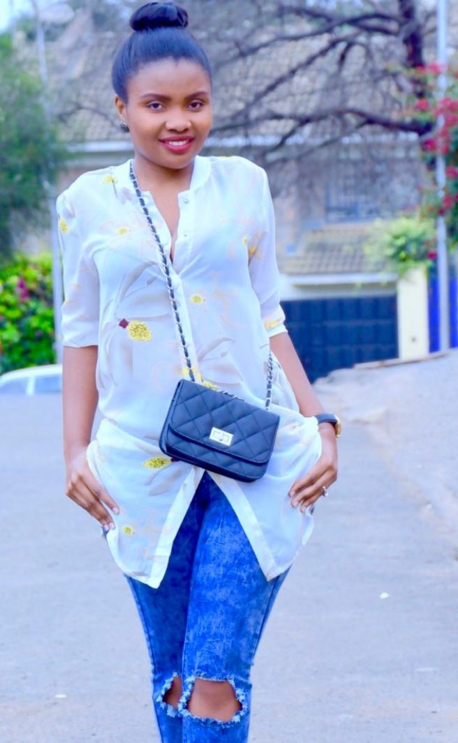 Distressed denim with shirt dress