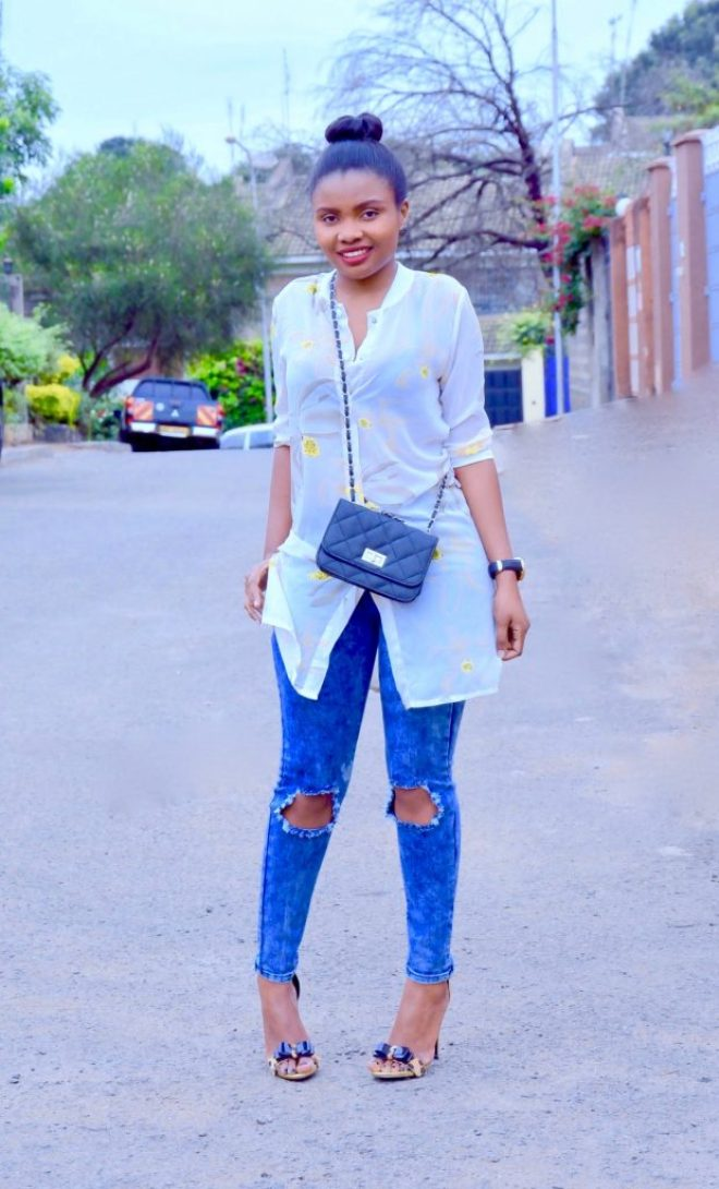 Long shirt with jeans outfit