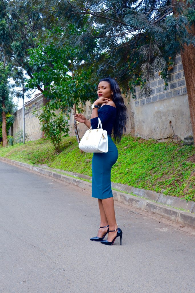 bardot top / off-shoulder top with midi skirt outfit 6