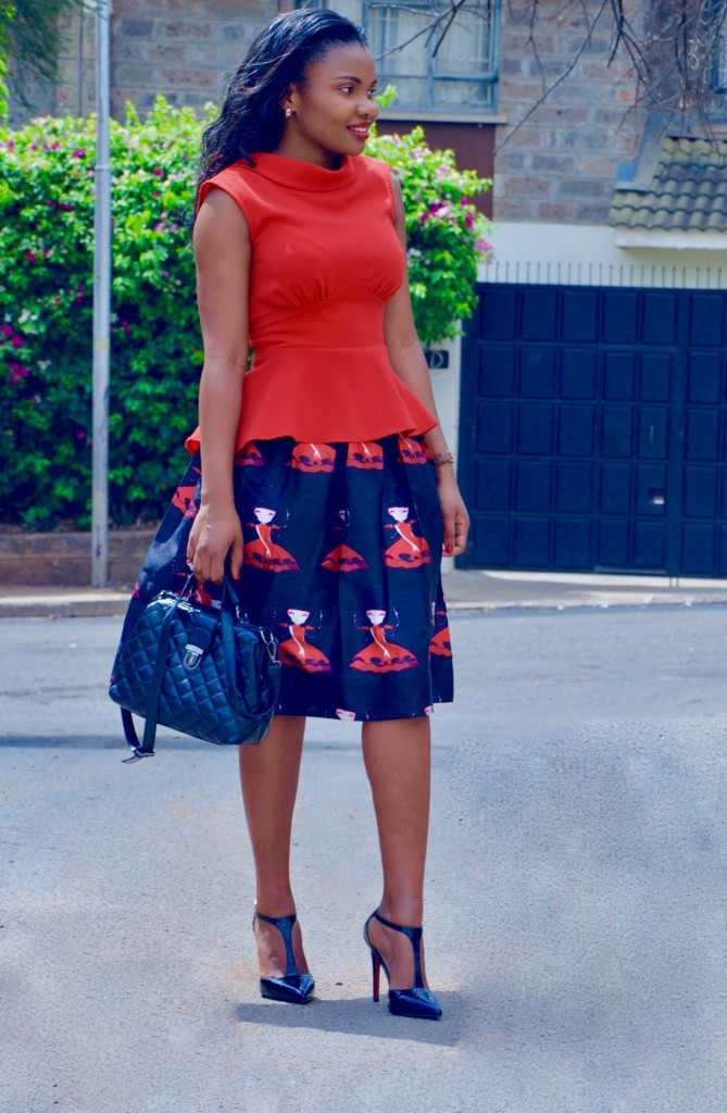 red-print-full-skirt-outfit