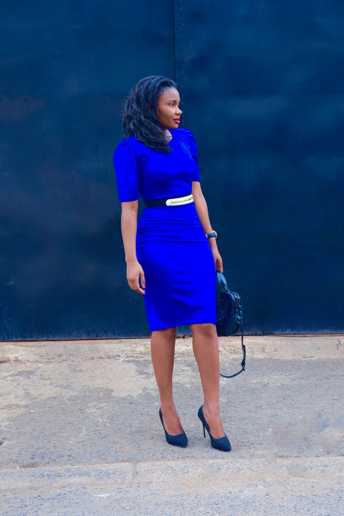 ruched sleeves blue dress 4