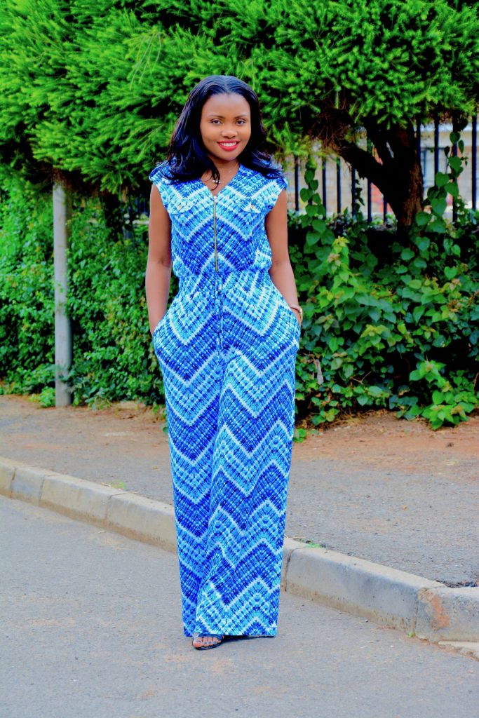 Figurestyle boutique blue print jumpsuit