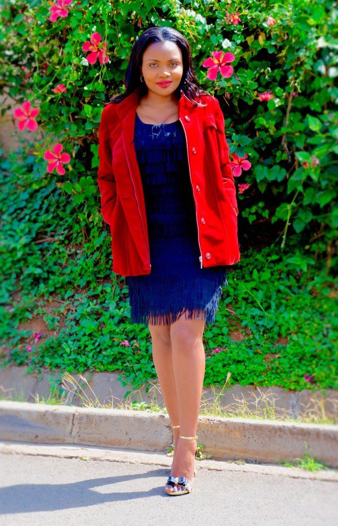 Figurestyle boutique wine red velvet trench coat
