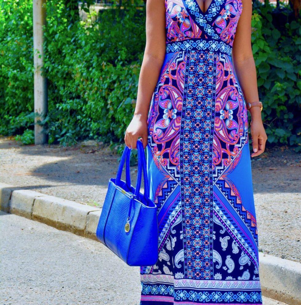blue floral summer maxi dress