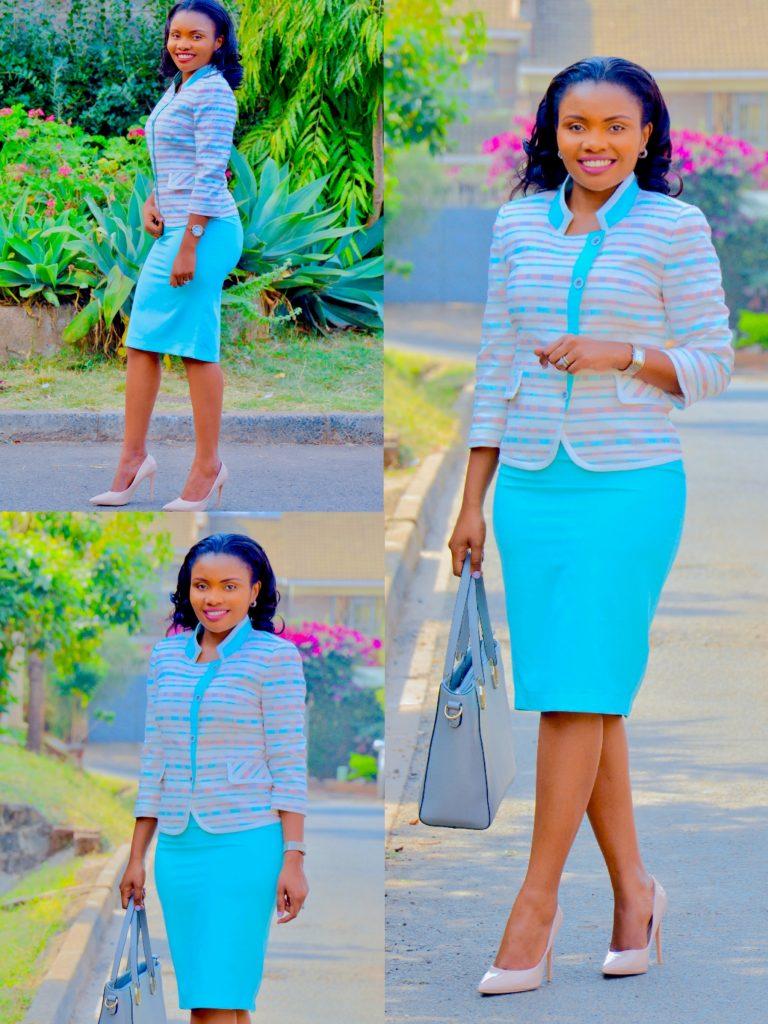 FigureStyle office wear skirt suit turquoise