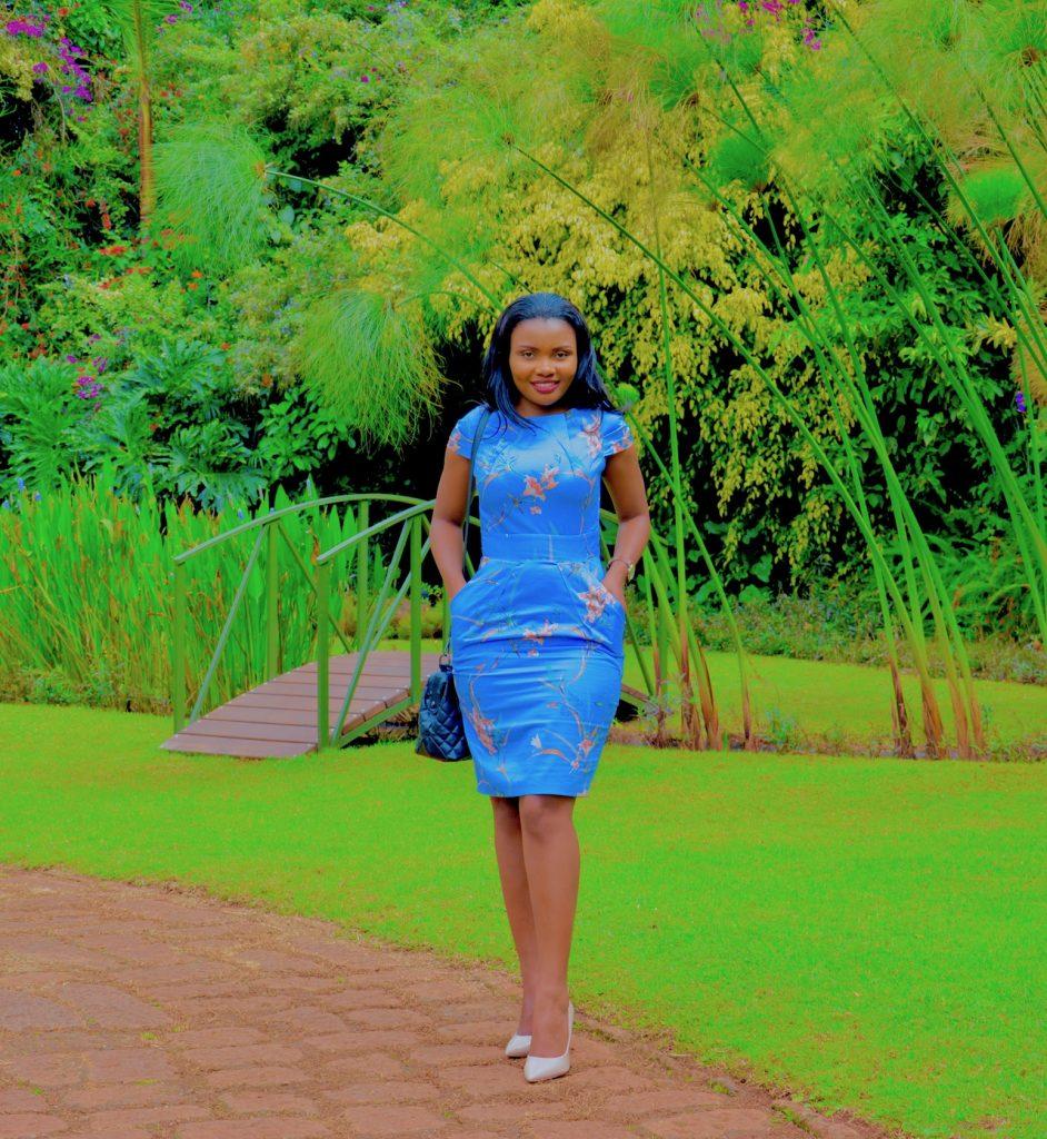 light blue floral tulip dress nude heels