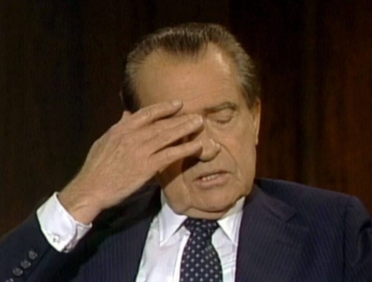 In this June 10, 1983 frame grab of video made available by Raiford Communications, Inc., former president Richard Nixon talks about his 1974 resignation in a series of interviews conducted by former White House aide Frank Gannon in New York City. The Richard Nixon Presidential Library and the privately held Nixon Foundation are co-releasing a trove of videotaped interviews with the former president to mark the 40th anniversary of his resignation following the Watergate scandal. The 28 minutes of tape, detailing Nixon's personal turmoil in his final week in office, were culled from more than 30 hours of tape recorded in 1983. (AP Photo/Copyright Raiford Communications)