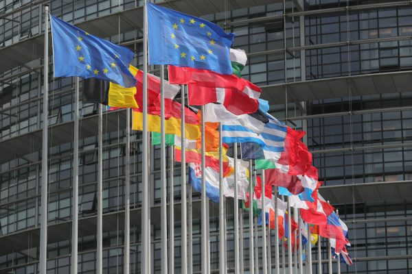 Flags of the European Union fly outside the European Parliament in Strasbourg, France, on May 11, 2016. (Christopher Furlong/Getty Images)