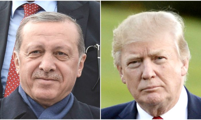 (L) Turkish President Tayyip Erdogan greets supporters at Ankara Esenboga Airport in Ankara, Turkey, on April 17, 2017. (R) President Donald Trump walks on the South Lawn after returning to the White House in Washington on April 9, 2017.  (Elif Sogut/Getty Images; Olivier Douliery-Pool/Getty Images)