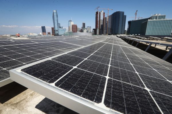 Solar panels mounted on top of the roof