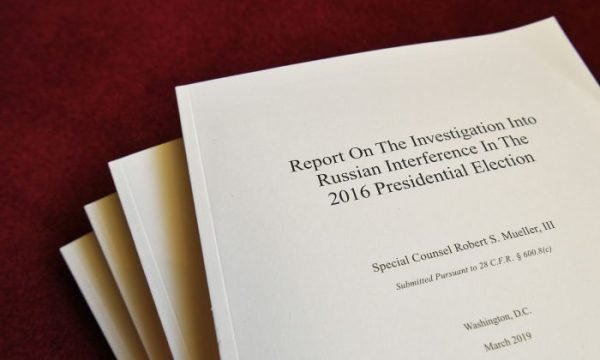 "Copies of the ""Mueller Report"" printed by the US Government Publishing Office are seen at the US Capitol in Washington, DC on April 24, 2019. MANDEL NGAN/AFP/Getty Images"