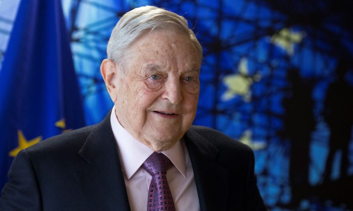 George Soros, Founder and Chairman of the Open Society Foundations, arrives for a meeting in Brussels, Belgium on April 27, 2017. (Olivier Hoslet/AFP/Getty Images)