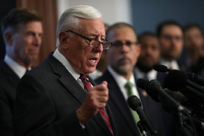 House Majority Leader Rep. Steny Hoyer (R) (D-Md.) during a press conference calling for gun control legislation at the U.S. Capitol