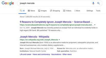 Mercola web search screenshot