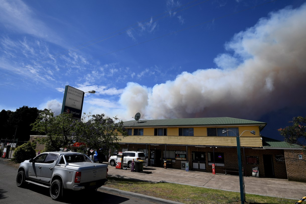 A general view of smoke from the Gospers Mountain fire near Colo Heights, north west of Sydney