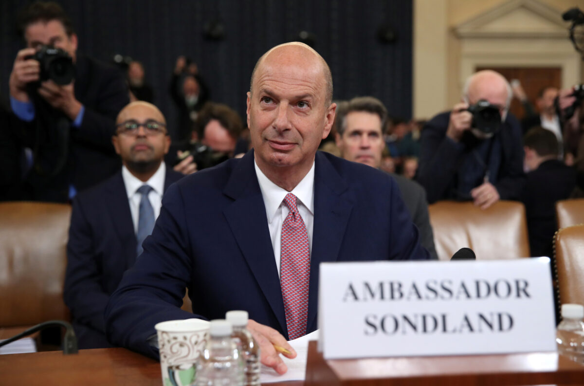 U.S. Ambassador to EU Sondland arrives to tesitfy at House Intelligence Committee hearing on Trump impeachment inquiry on Capitol Hill in Washington