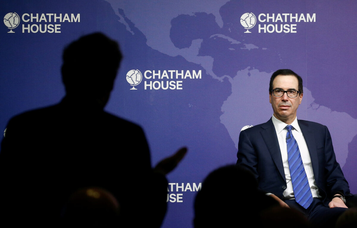 Steve Mnuchin speaks at an event