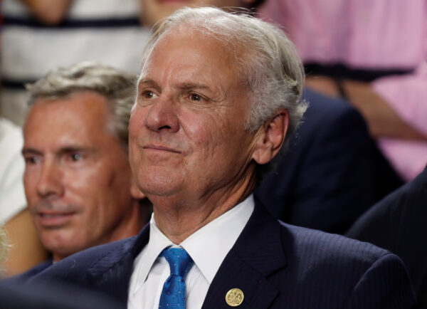 South Carolina Governor Henry McMaster looks on at a rally in Columbia