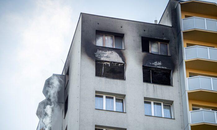 An apartment building is seen after a fire broke out in Bohumin, Czech Republic, Aug. 8, 2020. (Lukas Kabon/Reuters)