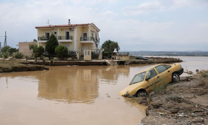 A view of a flooded area of the village of Bourtzi, following flash floods on the island of Evia, in Greece, on Aug. 9, 2020. (Sotiris Dimitropoulos/Eurokinissi via Reuters)