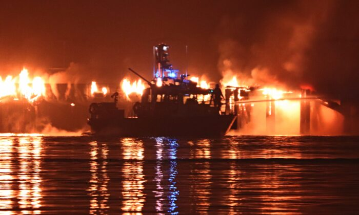 Fire Contained but Continues to Burn at Pier Park in New Westminster