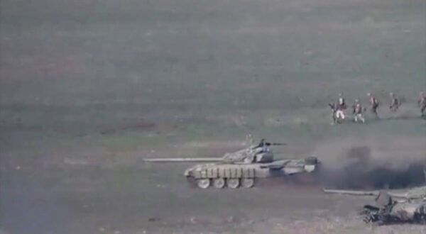 A still image shows what is said to be Azerbaijani tanks in Nagorno-Karabakh