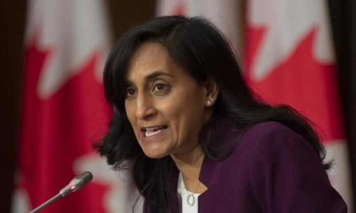 Public Services and Procurement Minister Anita Anand responds to a question during a news conference on October 6, 2020 in Ottawa. Anand says Canada has received a first shipment of 100,000 rapid tests for COVID-19. (THE CANADIAN PRESS/Adrian Wyld)