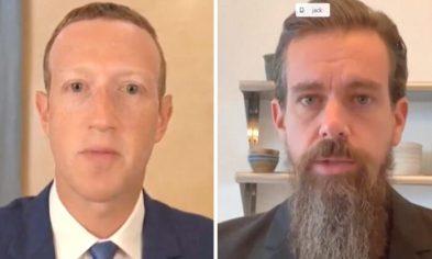 Facebook CEO Mark Zuckerberg (L) and Twitter CEO Jack Dorsey (R) testify before the Senate Judiciary Committee in Washington on Nov. 17, 2020. (Screenshot via Pool)